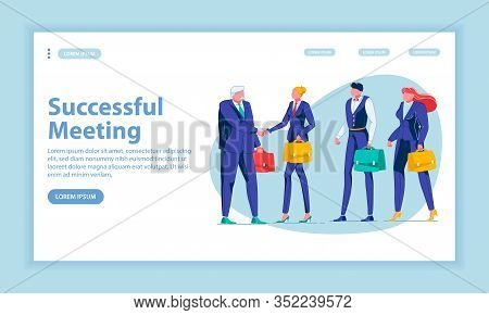 Successful Meeting Landing Page Vector Template. Working Congress, Conference, Partnership, Making D