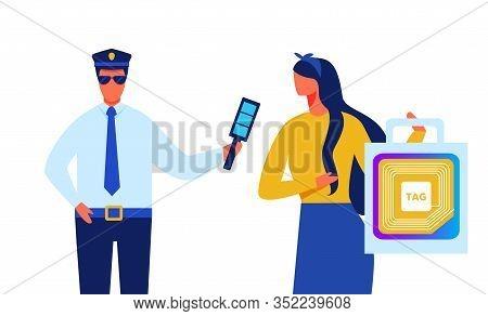 Policeman Identify Lady With Rfid Tag Transponder Illustration. Radio Frequency Identification Chip.