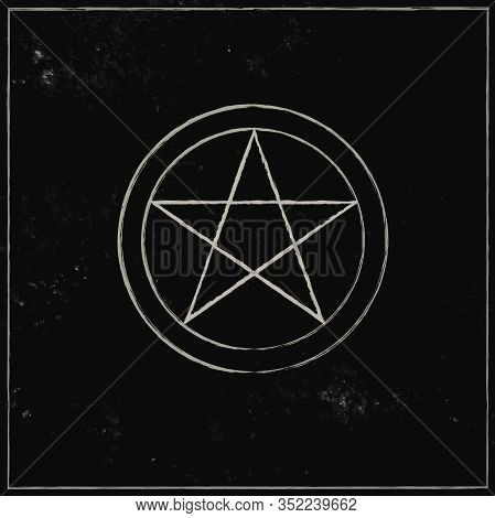 Pentacle Isolated On Dark Background. Magic Vector Decorative Elements