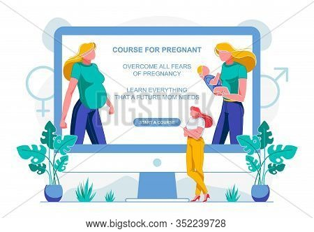 Course For Pregnant, Overcome All Fears Pregnancy. On Computer Screen, Same Woman Is First Pregnant,