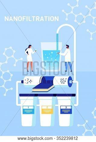Nanofiltration And Classification Nano Particles Process Presentation. Cartoon Print Poster Or Mobil