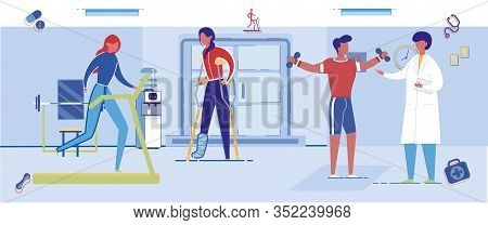 Physiotherapy Rehabilitation Gym Hall With People Cartoon Characters Doing Orthopedic Exercises Unde