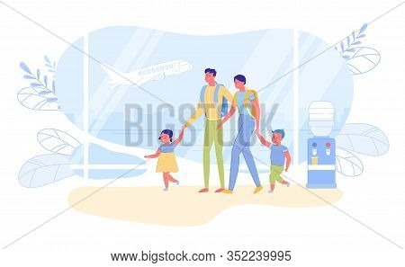 Family International Travel And Summer Vacation Abroad. Parents And Children Cartoon Characters With