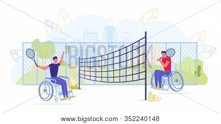 People, Men Characters With Limited Mobility On Wheelchairs Doing Sport Workout And Daily Training.