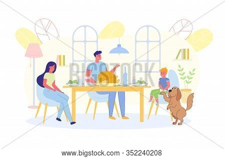 Parents With Their Son Sitting At Dining Table. Mom And Dad Talk With Their Son At Family Dinner, Do