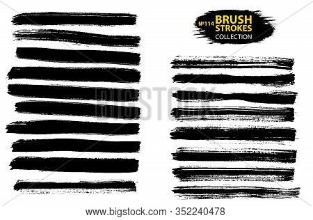 Vector Black Paint, Ink Brush Stroke, Brush, Line Or Texture. Collection Of Black Paint, Ink Brush S
