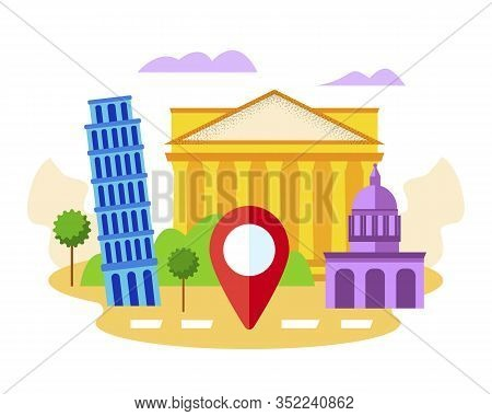 Italy Famous Show Places, See Sights With Gps Mark. Pisa Tower, Segesta, Florence Cathedral Architec