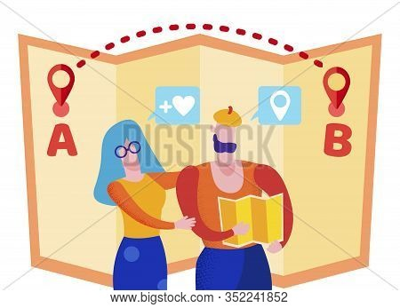 Bright Flyer Travel Route On Map Cartoon Flat. Man And Woman View Large Map. Advertising Banner Iden