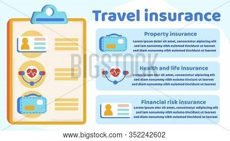 Informational Poster Is Written Travel Insurance. Multi-day Tour Large And Small Sights Country. Ins