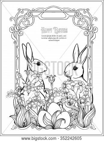 Happy Easter. Template Postcard, Poster With A Hare, Eggs And Spring Flowers. In Art Nouveau Style,