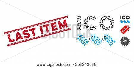 Rubber Red Stamp Watermark With Last Item Text Inside Double Parallel Lines, And Mosaic Ico Tokens I