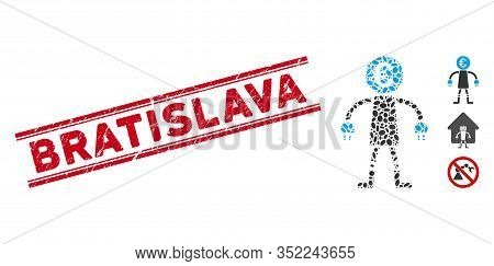 Distressed Red Stamp Seal With Bratislava Phrase Between Double Parallel Lines, And Mosaic Euro Robo