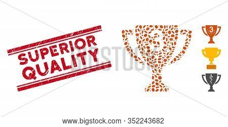 Rubber Red Stamp Seal With Superior Quality Caption Inside Double Parallel Lines, And Mosaic Third P