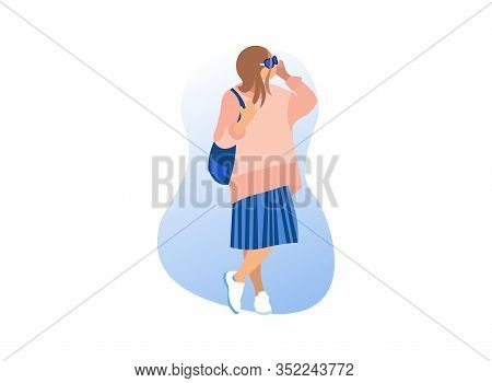Stylish Woman With Glasses On White Background. Exhibition Center. Vector Illustration. Walk Through