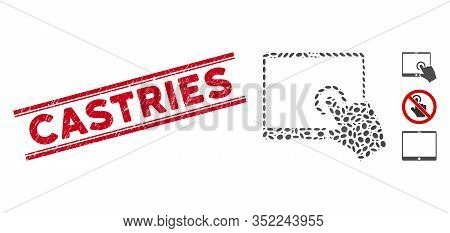 Rubber Red Stamp Watermark With Castries Caption Between Double Parallel Lines, And Collage Hand Tou