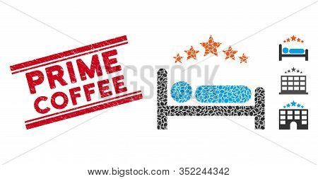 Corroded Red Stamp Seal With Prime Coffee Caption Between Double Parallel Lines, And Mosaic Star Hot