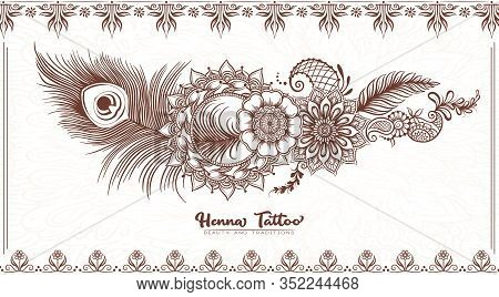 Template Design With Traditional Indian Henna Tattoo With Peacock Feather. Template For Wedding Invi