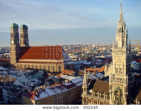 Cathedral Tower And City Hall In Munich, Germany