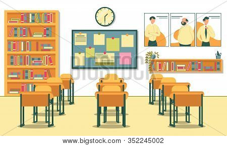 Secondary School Class Room. View Form Teachers Table To Students Desks. Notice Board And Clock On W