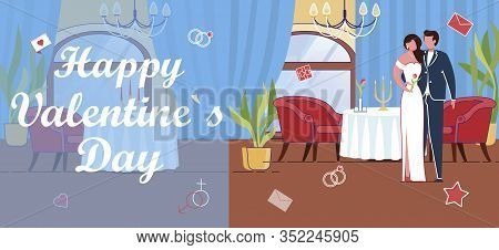 Happy Valentines Day Greeting Card With Groom And Bride Characters In Wedding Dress And Suit In Rest