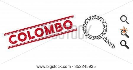 Rubber Red Stamp Seal With Colombo Text Between Double Parallel Lines, And Mosaic Locate Icon. Mosai