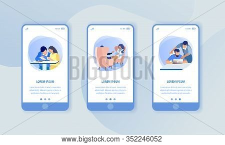 Variants Image Working People In Coworking Center. Print Image. Smartphones On Blue Background. Vect