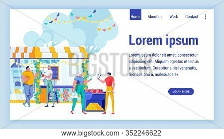 Bbq, Street Food Flat Vector Landing Page Template. Outdoor Picnic, Cookout Weekend Website Homepage