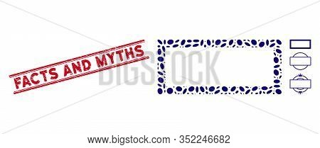 Grunge Red Stamp Seal With Facts And Myths Phrase Inside Double Parallel Lines, And Mosaic Rectangle