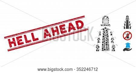 Grunge Red Stamp Seal With Hell Ahead Caption Inside Double Parallel Lines, And Collage Fatal Road I