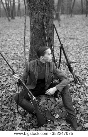 Successful Hunt. Hunting Sport. Woman With Weapon. Target Shot. Girl With Rifle. Chase Hunting. Gun