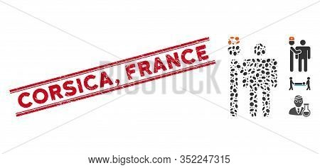 Rubber Red Stamp Seal With Corsica, France Caption Between Double Parallel Lines, And Mosaic Medical