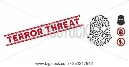 Rubber Red Stamp Seal With Terror Threat Phrase Between Double Parallel Lines, And Mosaic Terrorist