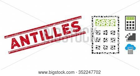 Grunge Red Stamp Watermark With Antilles Text Inside Double Parallel Lines, And Mosaic Book-keeping