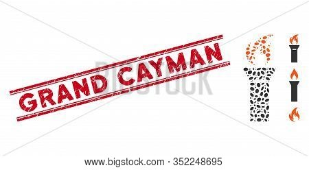 Grunge Red Stamp Watermark With Grand Cayman Text Between Double Parallel Lines, And Mosaic Torch Fl