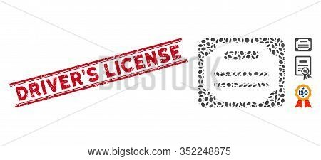 Grunge Red Stamp Watermark With Drivers License Caption Between Double Parallel Lines, And Mosaic Li