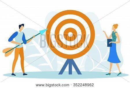 Target Marketing Flat Cartoon Vector Illustration. Businessman Shooting Bow. Goal Achievement, Custo