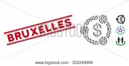 Corroded Red Stamp Seal With Bruxelles Caption Between Double Parallel Lines, And Mosaic Financial C