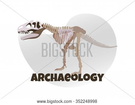 Dinosaur Mockup On White Background. Anthropology. Exhibition Center. Vector Illustration. White Bac