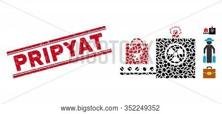 Corroded Red Stamp Seal With Pripyat Phrase Between Double Parallel Lines, And Mosaic Baggage Screen