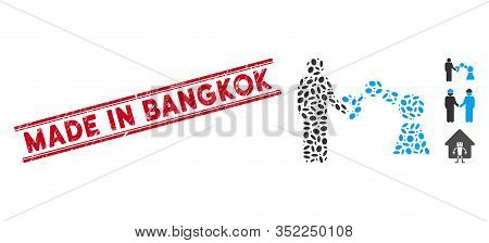 Corroded Red Stamp Seal With Made In Bangkok Caption Between Double Parallel Lines, And Mosaic Robot
