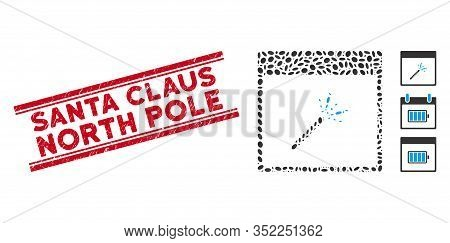 Rubber Red Stamp Seal With Santa Claus North Pole Phrase Between Double Parallel Lines, And Collage
