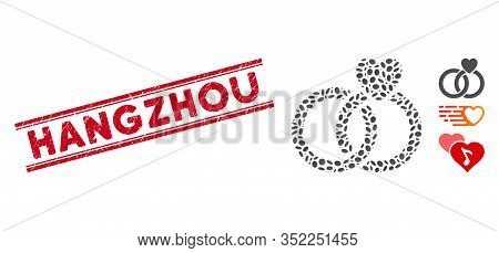 Corroded Red Stamp Watermark With Hangzhou Caption Between Double Parallel Lines, And Mosaic Wedding