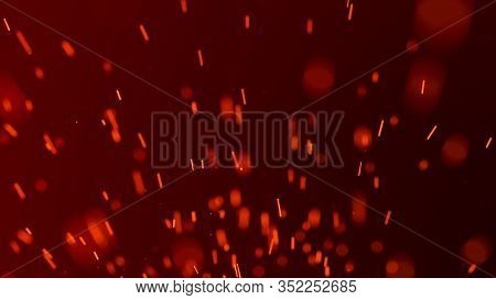 Fire Sparks Background. Burning Red Sparks. Fire Flying Sparks. Blurred Bright Light. 3D Rendering.