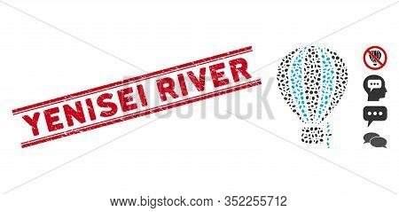 Distressed Red Stamp Seal With Yenisei River Text Inside Double Parallel Lines, And Mosaic Aerostat