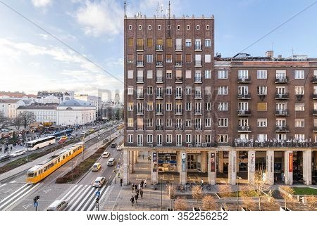 Budapest, Hungary - December 14, 2019: Madach Square Window View To The Street Towards Deák Tér On A