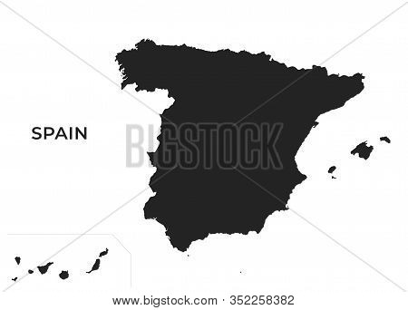 Spain Map With The Canary Islands. High Detailed Isolated Vector Geographic Template Of European Cou