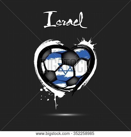 Abstract Soccer Ball Shaped As A Heart Painted In The Colors Of The Israel Flag. Flag Israel In The