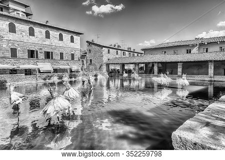 Panoramic View Of The Iconic Medieval Thermal Baths, Major Landmark And Sightseeing In The Town Of B