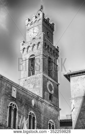 Clocktower Of The Town Hall Of Pienza, Tuscany, Italy. It Is Located In Piazza Pio Ii, The Pope Whos