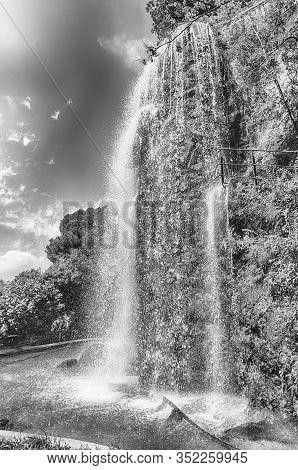 Waterfall In Park De La Colline Du Chateau, Nice, France